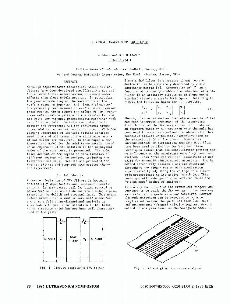 3-D Modal Analysis of SAW Filters - IEEE Conference Publication