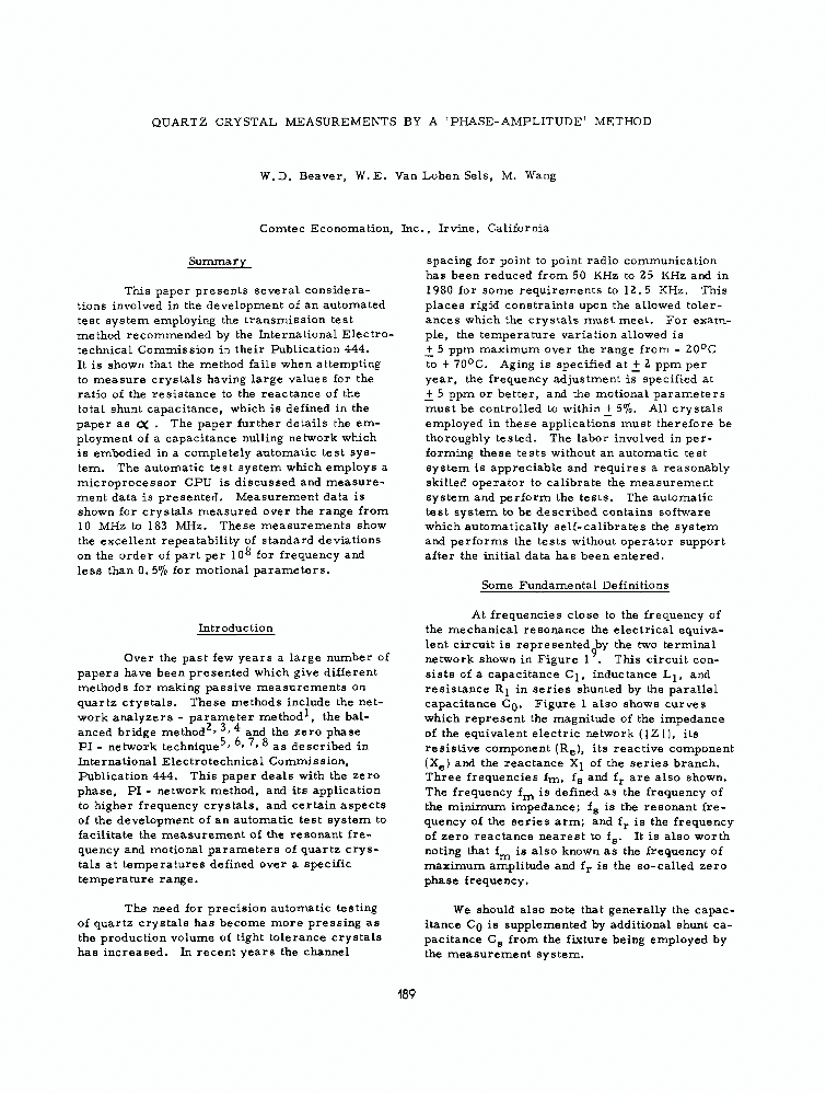 quartz crystal measurements by a phaseamplitude method  ieee  quartz crystal measurements by a phaseamplitude method  ieee conference  publication