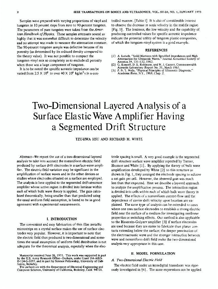 Two-Dimensional Layered Analysis of a Surface Elastic Wave