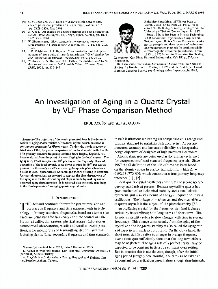 An Investigation of Aging in a Quartz Crystal by VLF Phase