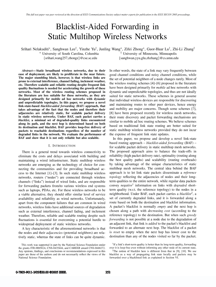 Blacklist-aided forwarding in static multihop wireless networks