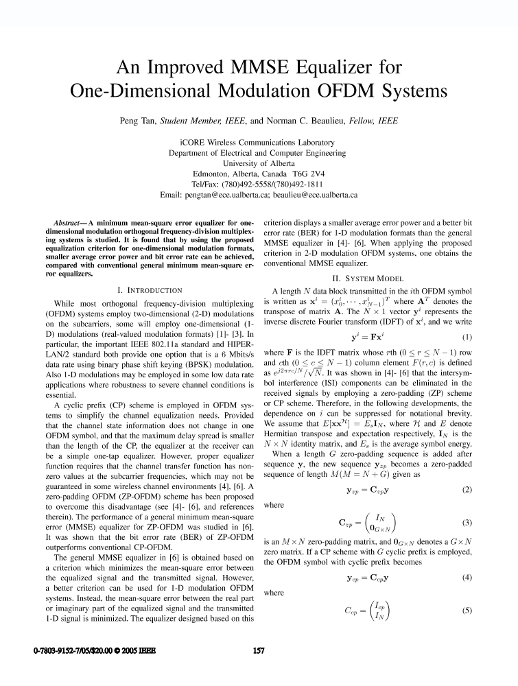 An Improved Mmse Equalizer For One Dimensional Modulation Ofdm Systems Ieee Conference Publication