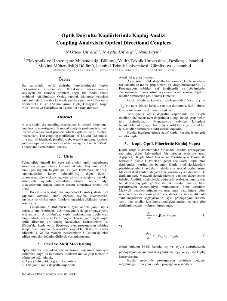 Coupling analysis in optical directional couplers - IEEE