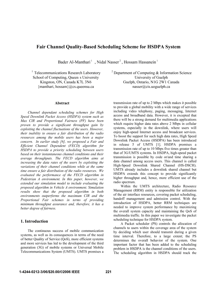Fair Channel Quality-Based Scheduling Scheme for HSDPA System - IEEE
