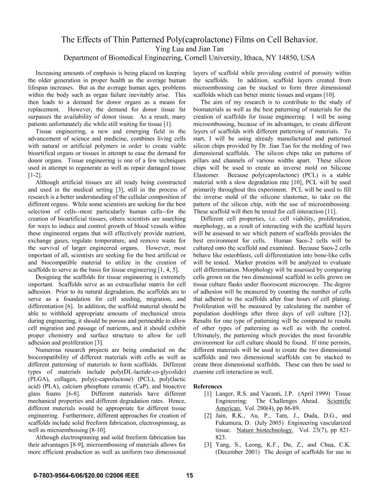 The Effects Of Thin Patterned Poly Caprolactone Films On Cell Behavior Ieee Conference Publication