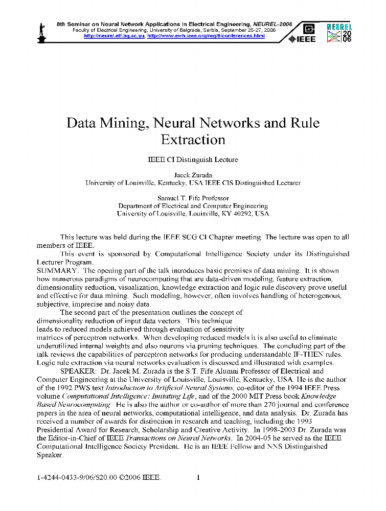 Data Mining, Neural Networks and Rule Extraction