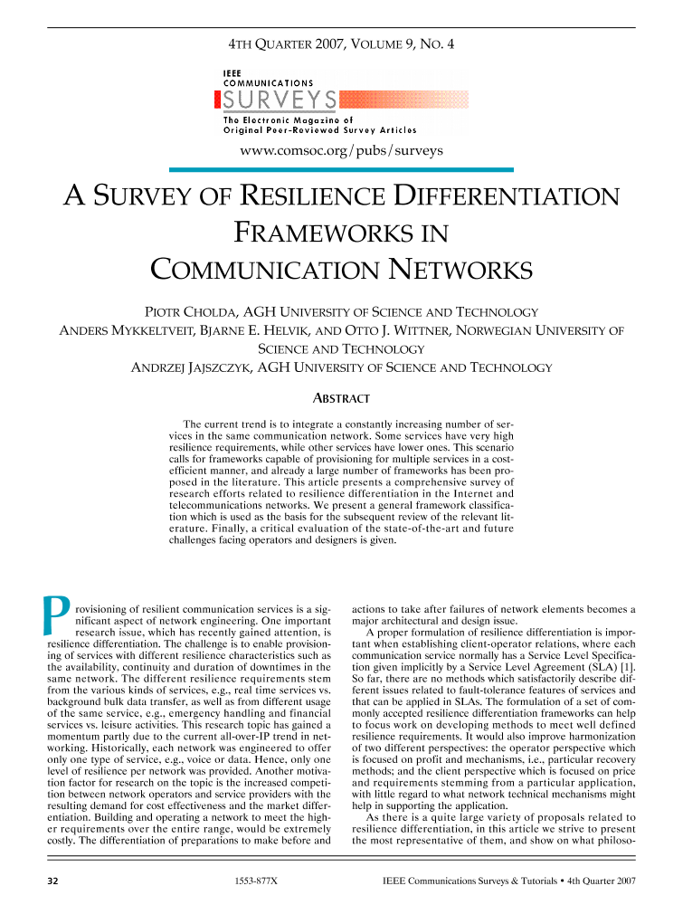 A survey of resilience differentiation frameworks in