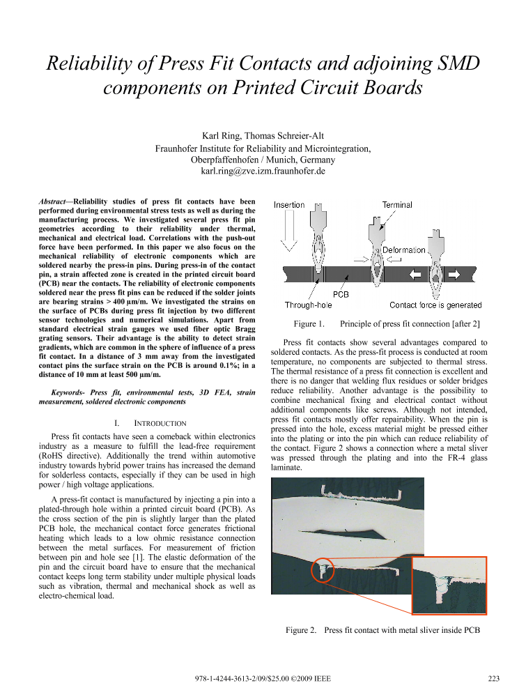 Reliability of Press Fit Contacts and Adjoining SMD